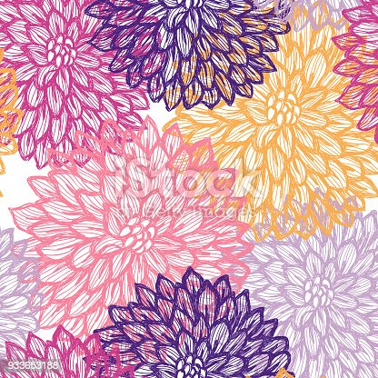 istock Dalhia Seamless Vector Pattern - Ink Drawing with Watercolor Texture 933653188
