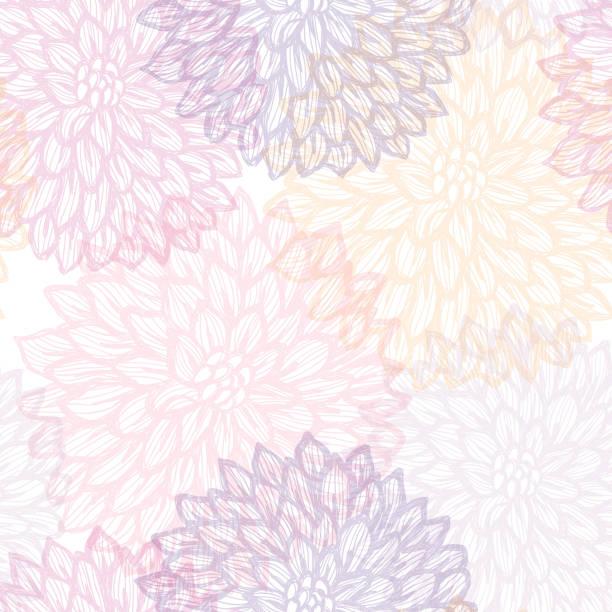 Dalhia Seamless Vector Pattern - Ink Drawing with Watercolor Texture Dalhia Seamless Vector Pattern - Ink Drawing with Watercolor Texture violet flower stock illustrations