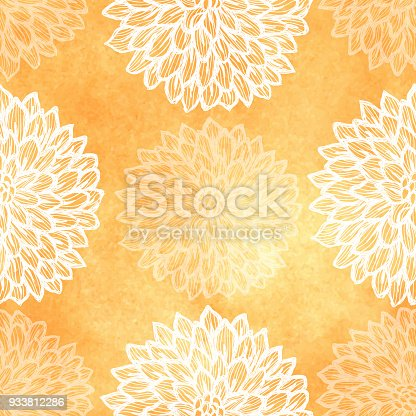 istock Dalhia Seamless Vector Pattern - Ink Drawing with Watercolor Texture 933812286