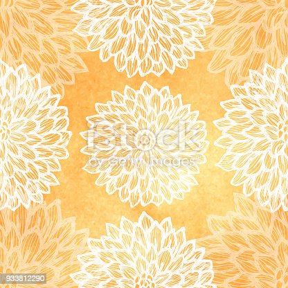 istock Dalhia Seamless Vector Pattern - Ink Drawing with Watercolor Texture 933812290