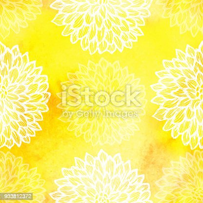 istock Dalhia Seamless Vector Pattern - Ink Drawing with Watercolor Texture 933812372