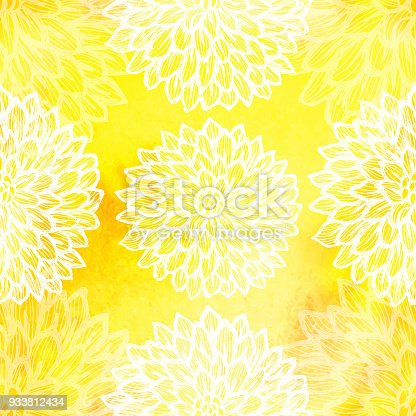 istock Dalhia Seamless Vector Pattern - Ink Drawing with Watercolor Texture 933812434