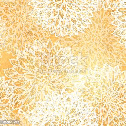 istock Dalhia Seamless Vector Pattern - Ink Drawing with Watercolor Texture 933821076