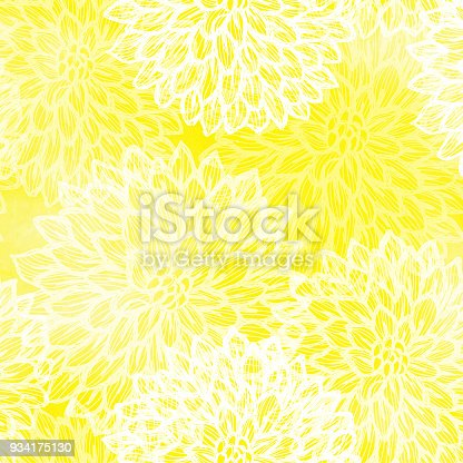 istock Dalhia Seamless Vector Pattern - Ink Drawing with Watercolor Texture 934175130