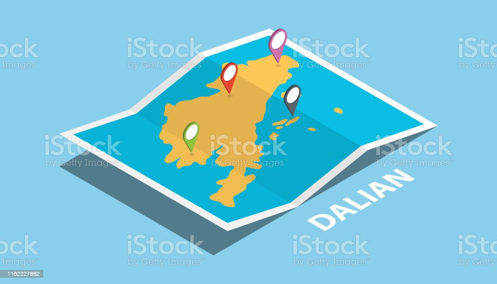 dalian china explore maps location with folded map and pin location...