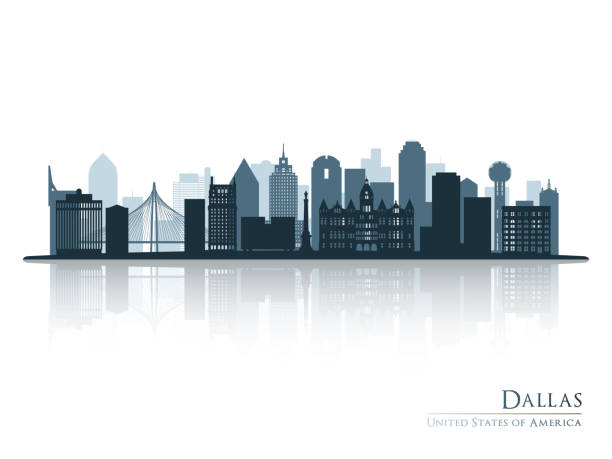 ilustrações de stock, clip art, desenhos animados e ícones de dallas blue skyline silhouette with reflection. vector illustration. - skyline