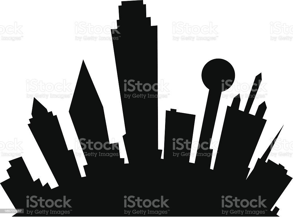 Dallas Cartoon Silhouette vector art illustration