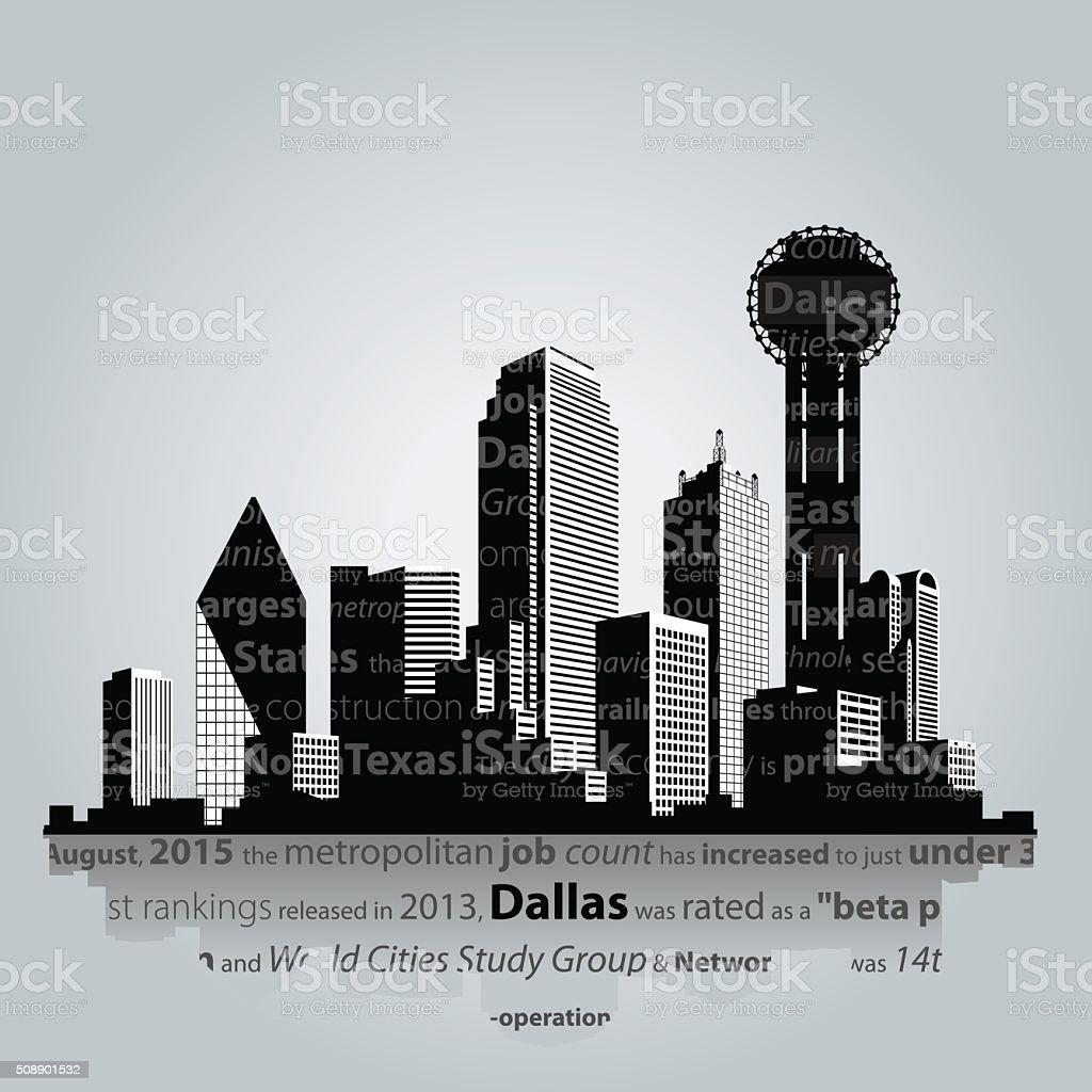 Dallas city silhouette. vector art illustration