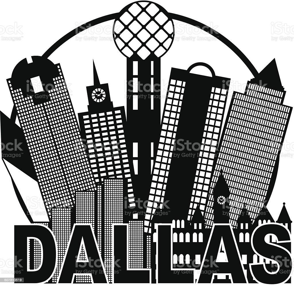 Dallas City Skyline Black and White Circle Vector Illustration vector art illustration
