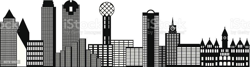 Dallas City Skyline Black and White Outline Vector Illustration vector art illustration