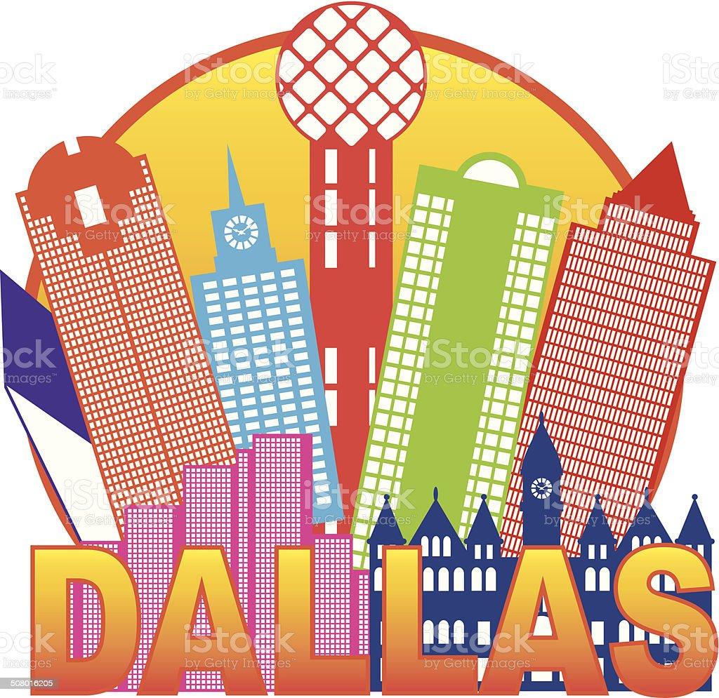 Dallas City Skyline Color Circle Vector Illustration vector art illustration