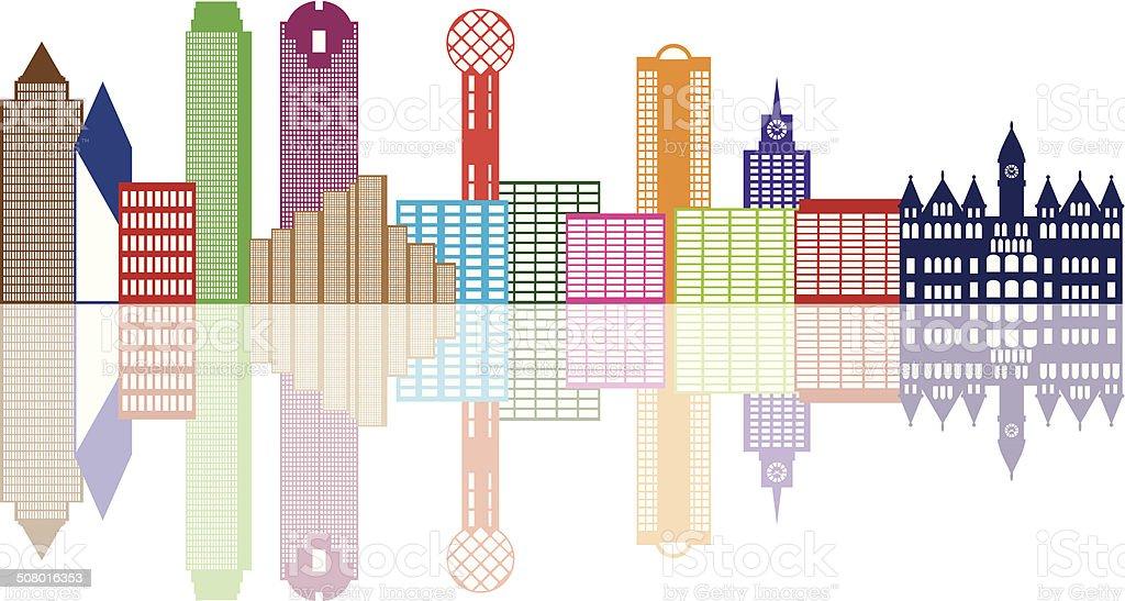 Dallas City Skyline Color Outline Vector Illustration vector art illustration