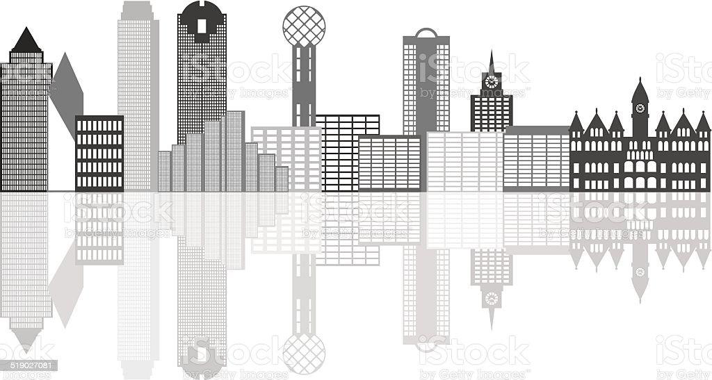 Dallas City Skyline Grayscale Vector Illustration vector art illustration
