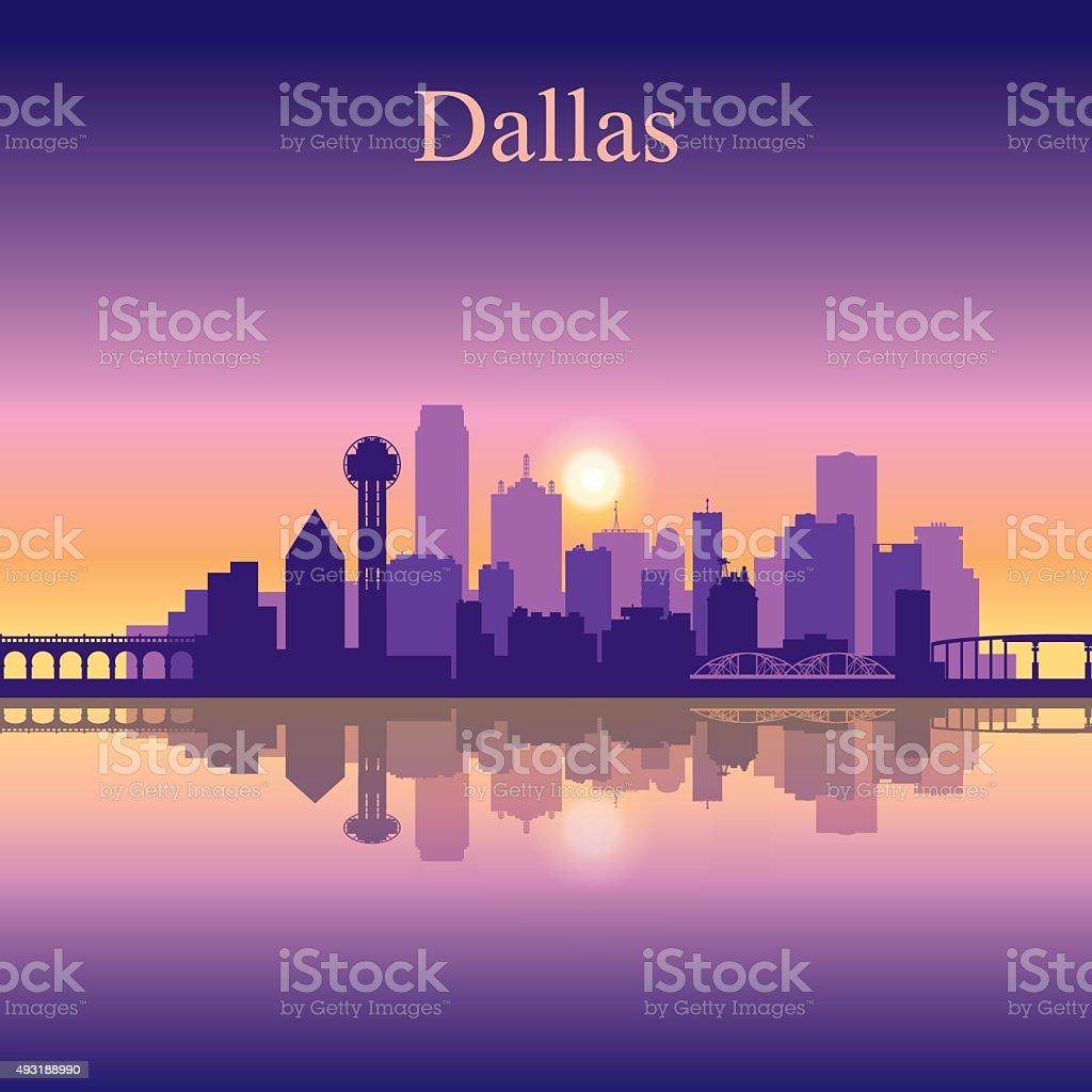 Dallas city skyline silhouette background vector art illustration