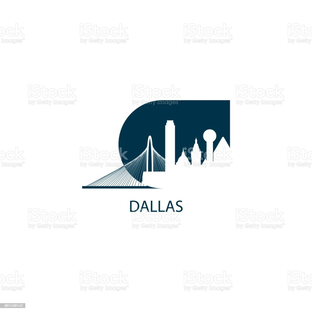 dallas city skyline silhouette vector illustration stock vector art