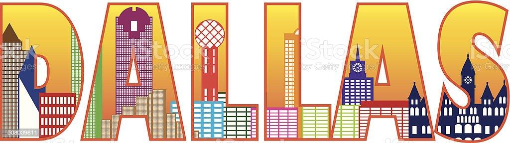 Dallas City Skyline Text Outline Color Vector Illustration vector art illustration