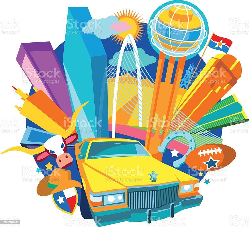 Dallas City Texas vector art illustration