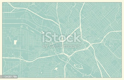 Dallas Map in Retro Style.