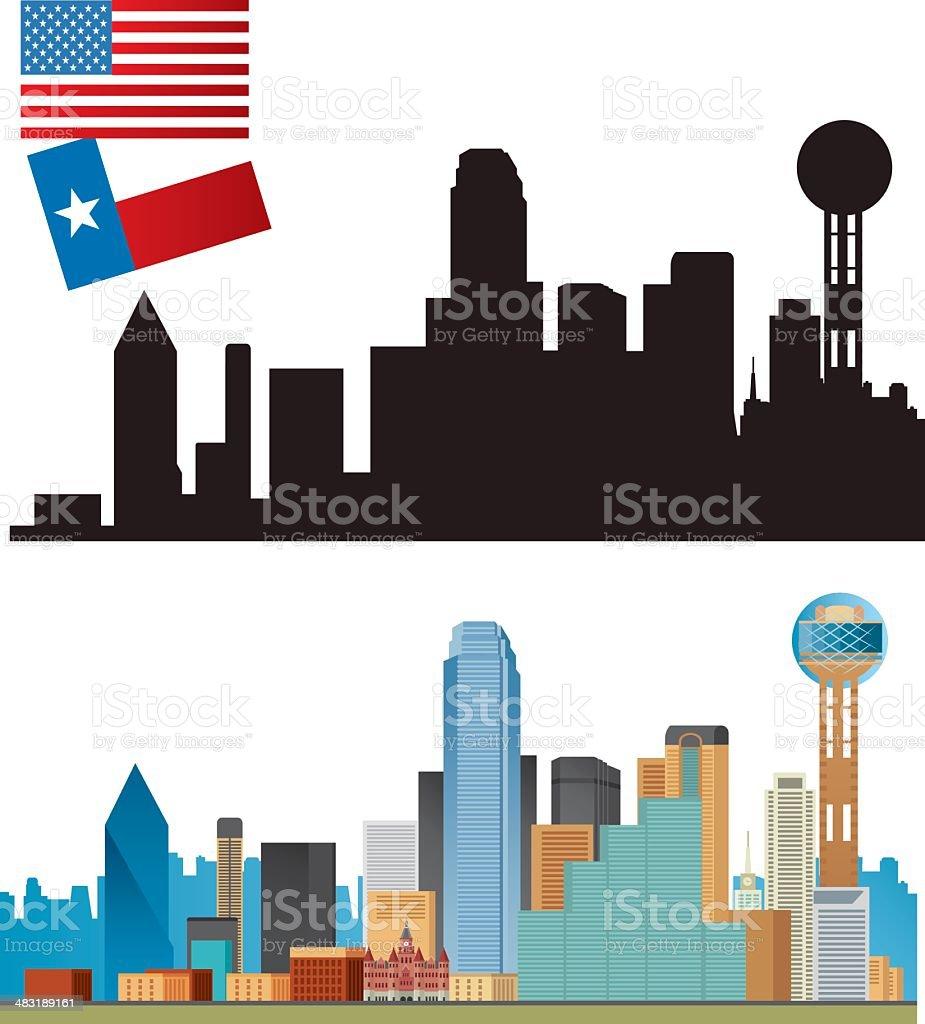Dallas Panorama vector art illustration
