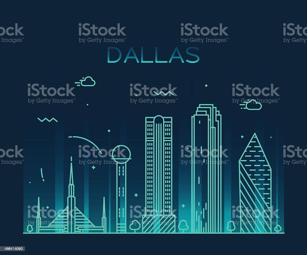 Dallas skyline trendy vector illustration linear vector art illustration