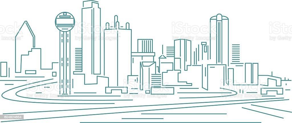 Dallas Skyline vector art illustration