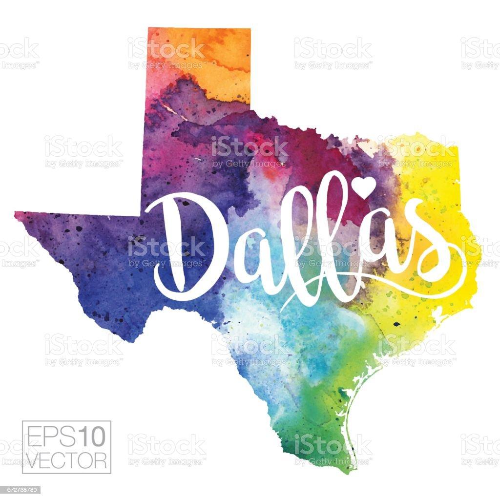 Dallas, Texas, USA Vector Watercolor Map vector art illustration