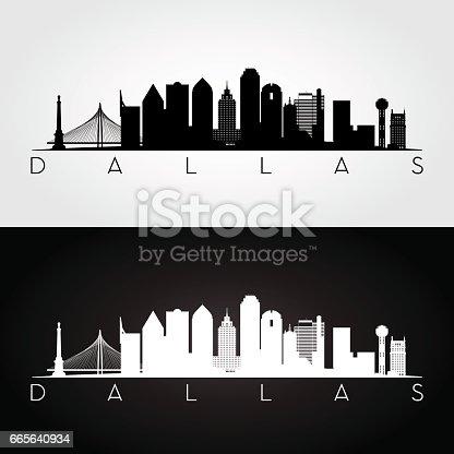 Dallas USA skyline and landmarks silhouette, black and white design, vector illustration.