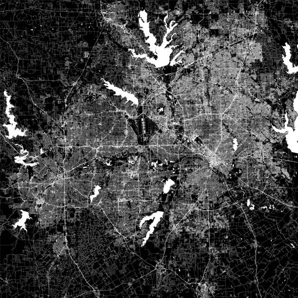 Dallas-Fort Worth Metroplex, Texas Vector Map Topographic / Road map of the Dallas - Fort Worth Metropolitan Area, TX, USA. Original map data is open data via © OpenStreetMap contributors airport drawings stock illustrations