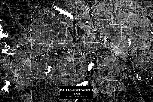 Dallas-Fort Worth Metroplex, Texas Vector Map