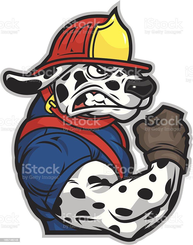 Dalmatian Fireman vector art illustration