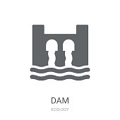 Dam icon. Trendy Dam logo concept on white background from Ecology collection. Suitable for use on web apps, mobile apps and print media.