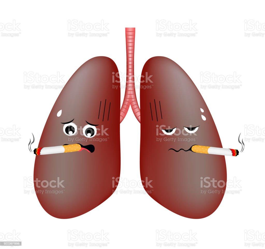 Ilustración de Problemas De Pulmón De Fumadores Del Daño Personaje ...