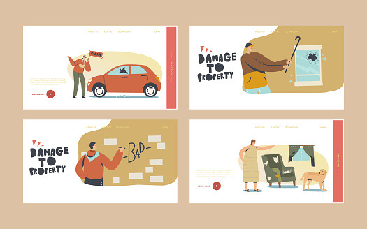 Damage to Property Landing Page Template Set. Looters Painting Walls, Crash Car for Fun, Angry Woman Scold Dog for Mess