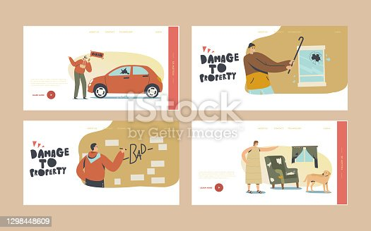 Damage to Property Landing Page Template Set. Looters Painting Walls, Crash Car for Fun, Angry Woman Scold Dog for Mess in Room. Characters Aggressive Behaviour. Cartoon People Vector Illustration