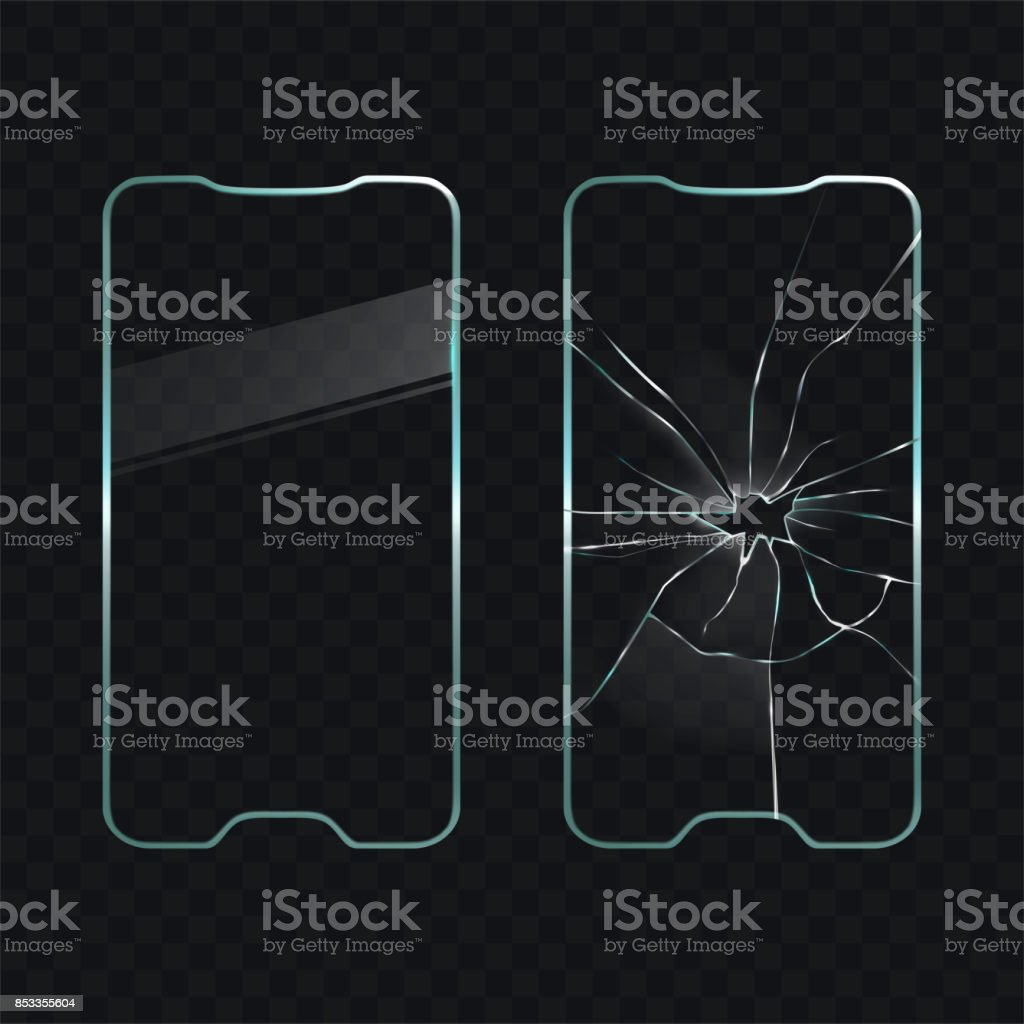 Damaged and new cellphone screen glass vector vector art illustration