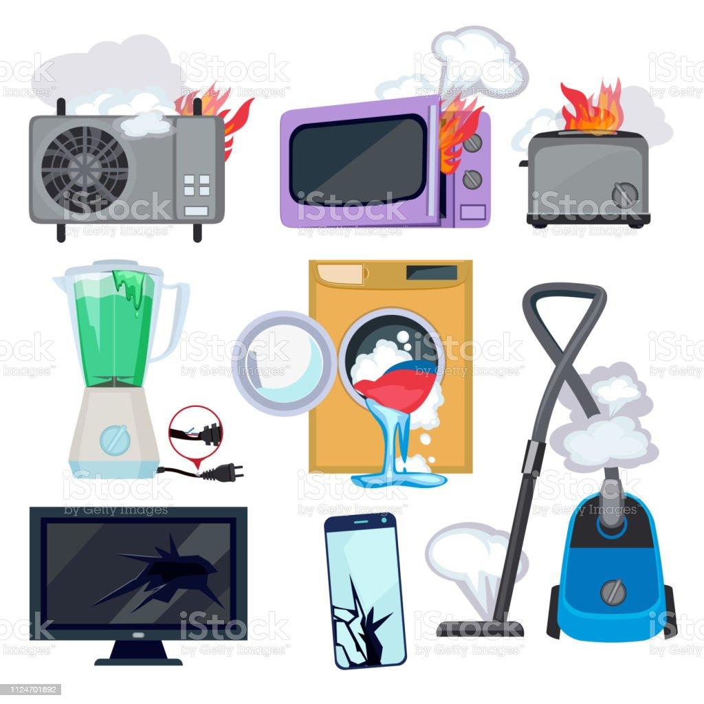 Damaged appliance. Broken household equipment fire stove microwave washing machine repair laptop computer vector - Royalty-free Banda desenhada - Produto Artístico arte vetorial