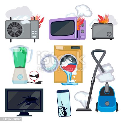 Damaged appliance. Broken household equipment fire stove microwave washing machine repair laptop computer vector. Machine broken, electronic device damaged, washer household equipment illustration