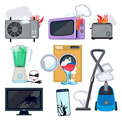 Damaged Appliance Broken Household Equipment Fire Stove Microwave Washing Machine Repair Laptop Computer Vector - Arte vetorial de stock e mais imagens de Banda desenhada - Produto Artístico