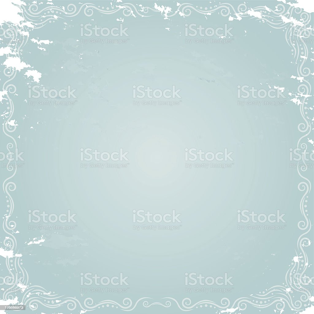 Damaged Blue Grunge Retro Paper with Scrolls royalty-free damaged blue grunge retro paper with scrolls stock vector art & more images of abstract