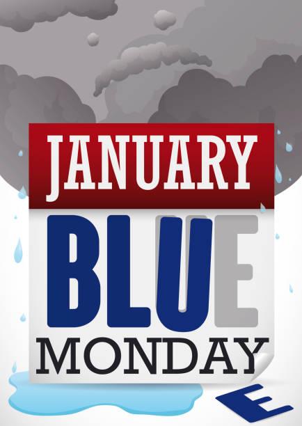 stockillustraties, clipart, cartoons en iconen met agenda en sad face in wolken beschadigd tijdens blue monday - blue monday