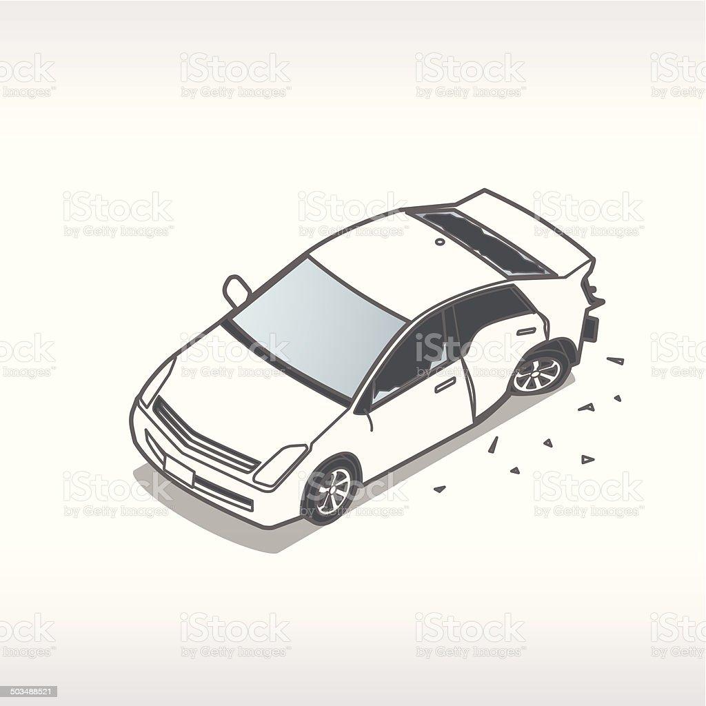 Damaged Car Illustration Stock Vector Art & More Images of Broken ...