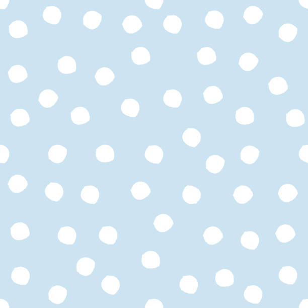 Damaged circles painted with a brush. Seamless pattern. White spots on a blue background. Damaged circles painted with a brush. Seamless pattern. White spots on a blue background. Repeating texture. polka dot stock illustrations