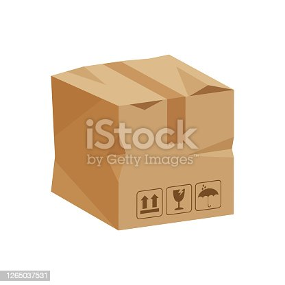 istock damaged crate boxes 3d, broken cardboard box brown, flat style cardboard parcel boxes, packaging cargo, isometric boxes brown, packaging box brown icon, symbol carton box isolated on white background 1265037531