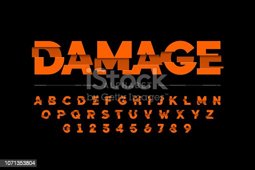 Damaged font design, alphabet letters and numbers vector illustration