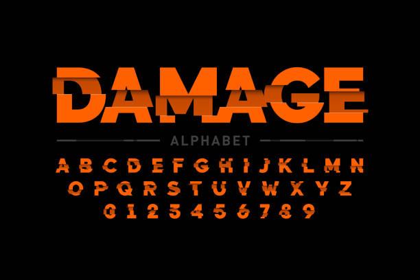 stockillustraties, clipart, cartoons en iconen met beschadigd lettertype - breuk