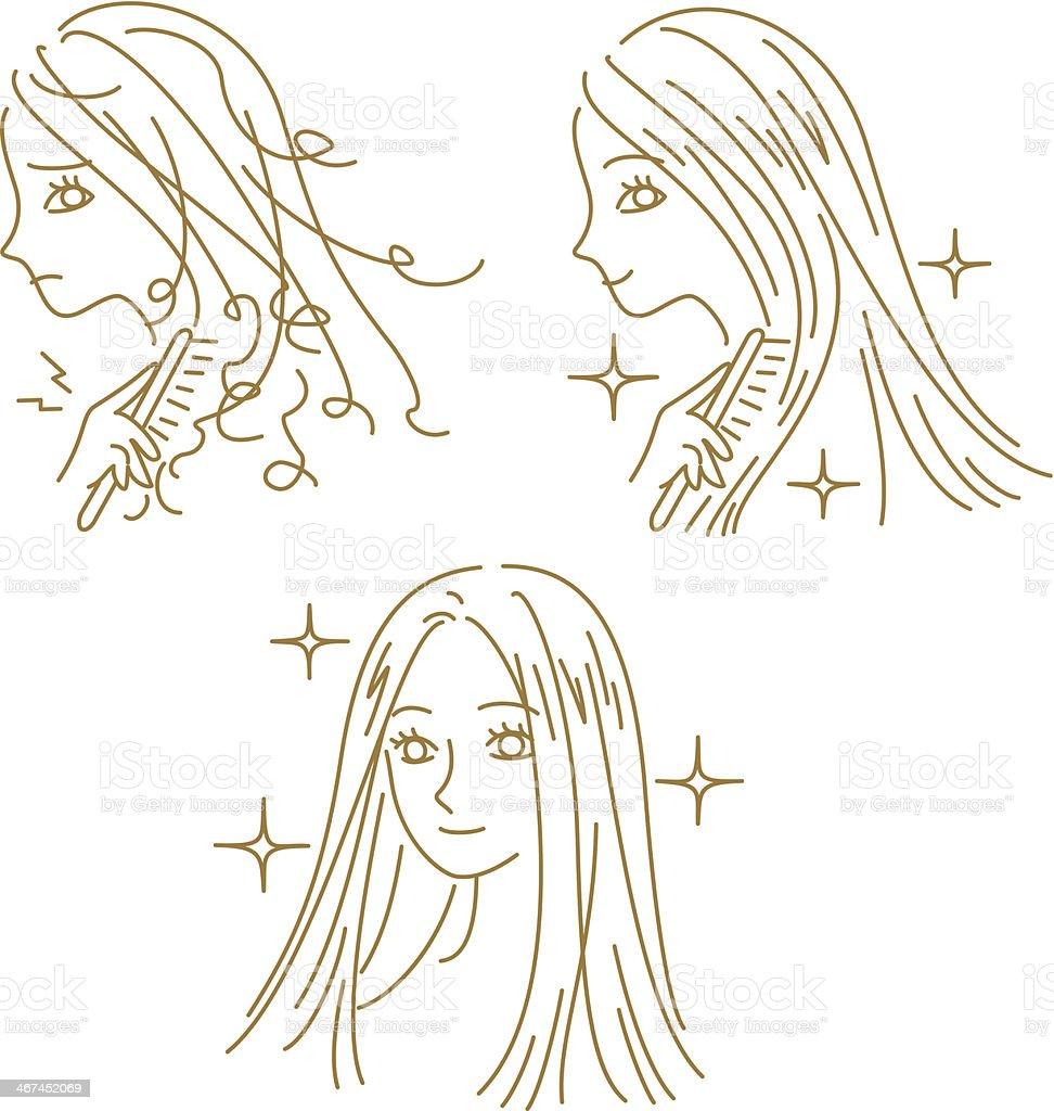 HAIR CARE, damaged hair and beautiful hair, woman vector art illustration