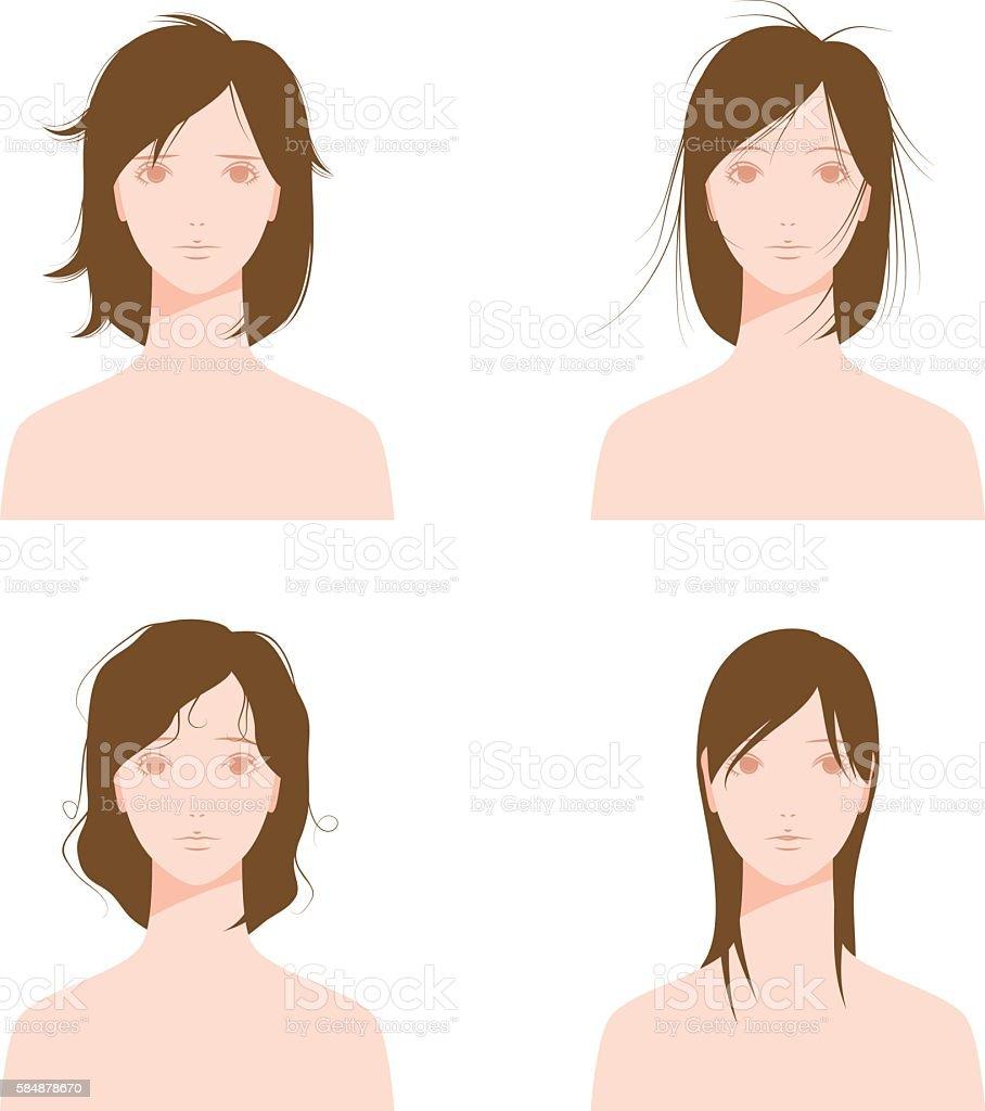 Damaged hair. Dry hair. Greasy hair. vector art illustration