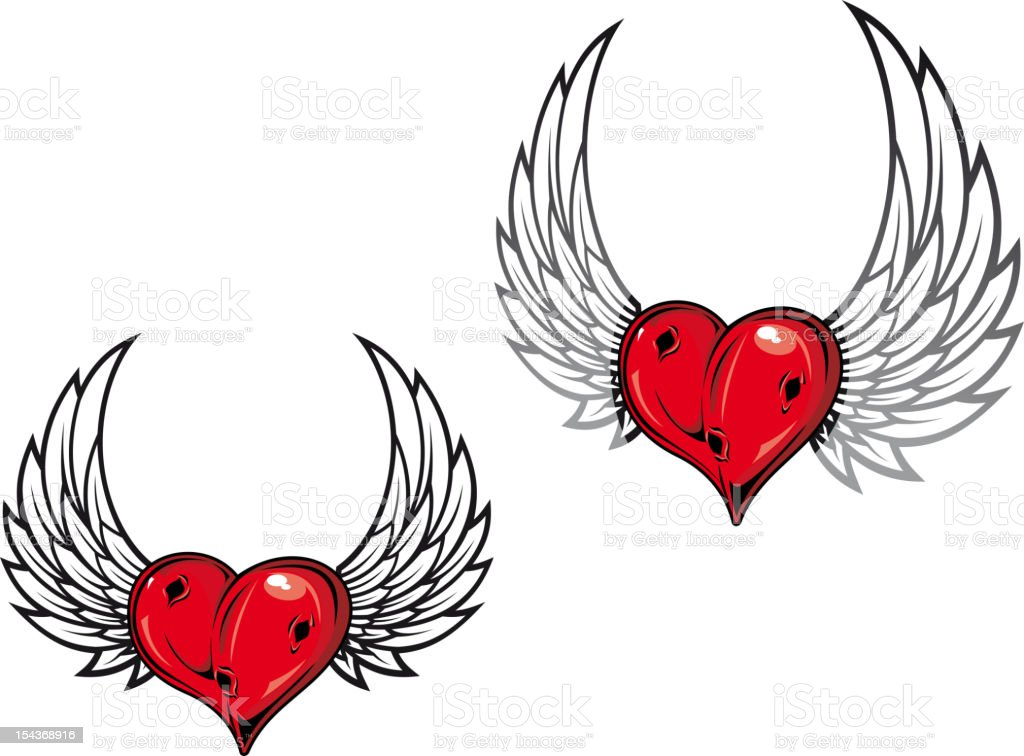 Damaged heart with wings royalty-free stock vector art