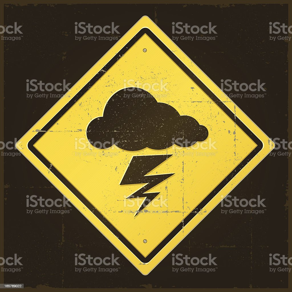 Damaged Lightning Warning Sign royalty-free damaged lightning warning sign stock vector art & more images of cloud - sky