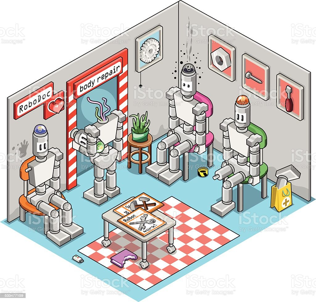 Damaged robots in waiting room to be repaired by doctor vector art illustration